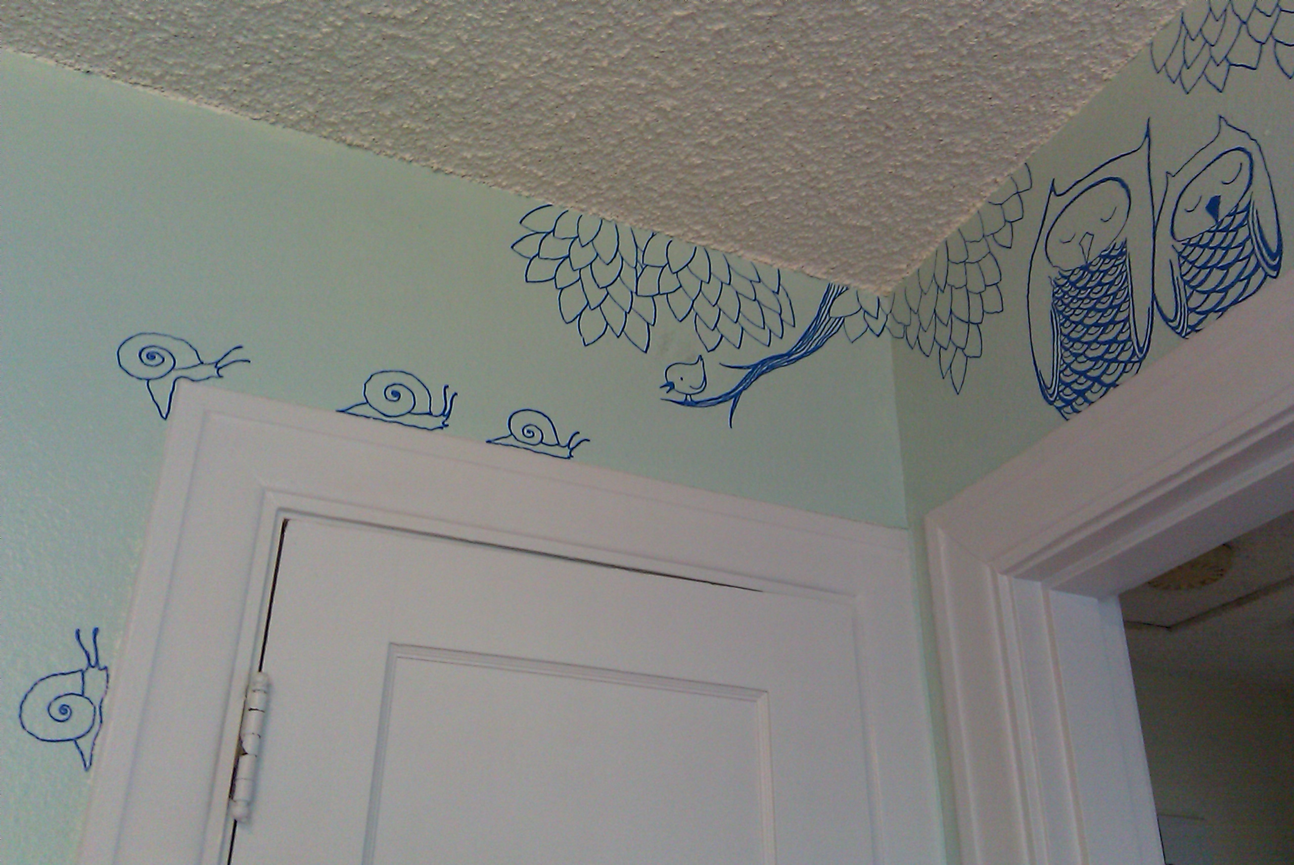 Line Art Mural : Murals and owl on pinterest