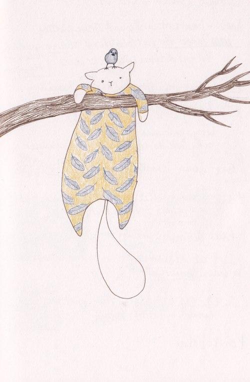 cat in pajamas with bird