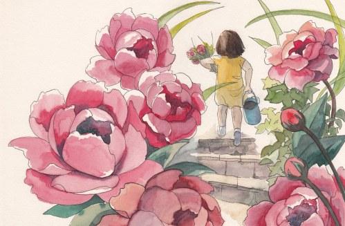 Peonies and Gardener